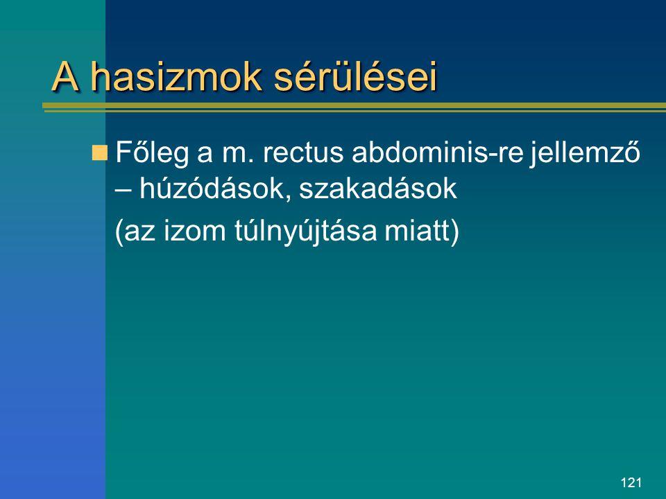 121 A hasizmok sérülései Főleg a m. rectus abdominis-re jellemző – húzódások, szakadások (az izom túlnyújtása miatt)