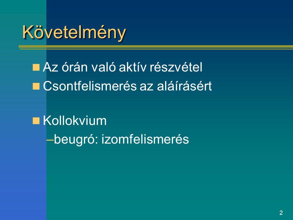 2 KövetelményKövetelmény Az órán való aktív részvétel Csontfelismerés az aláírásért Kollokvium –beugró: izomfelismerés