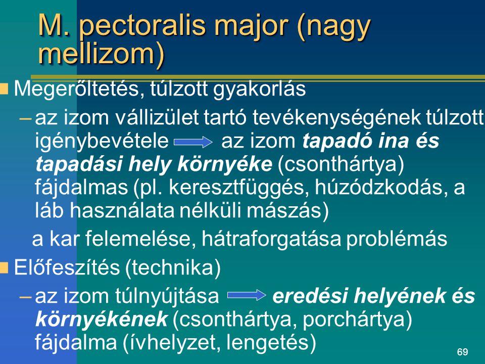 69 M. pectoralis major (nagy mellizom) Megerőltetés, túlzott gyakorlás –az izom vállizület tartó tevékenységének túlzott igénybevétele az izom tapadó