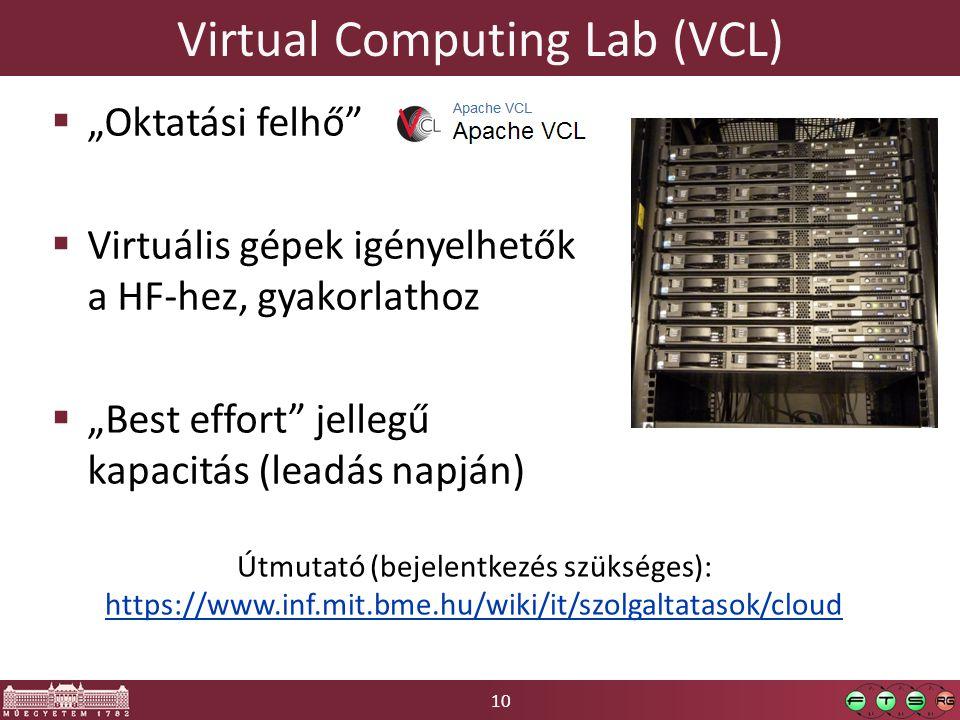 """10 Virtual Computing Lab (VCL)  """"Oktatási felhő  Virtuális gépek igényelhetők a HF-hez, gyakorlathoz  """"Best effort jellegű kapacitás (leadás napján) Útmutató (bejelentkezés szükséges): https://www.inf.mit.bme.hu/wiki/it/szolgaltatasok/cloud"""