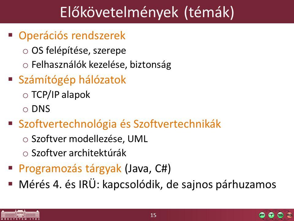 15 Előkövetelmények (témák)  Operációs rendszerek o OS felépítése, szerepe o Felhasználók kezelése, biztonság  Számítógép hálózatok o TCP/IP alapok o DNS  Szoftvertechnológia és Szoftvertechnikák o Szoftver modellezése, UML o Szoftver architektúrák  Programozás tárgyak (Java, C#)  Mérés 4.