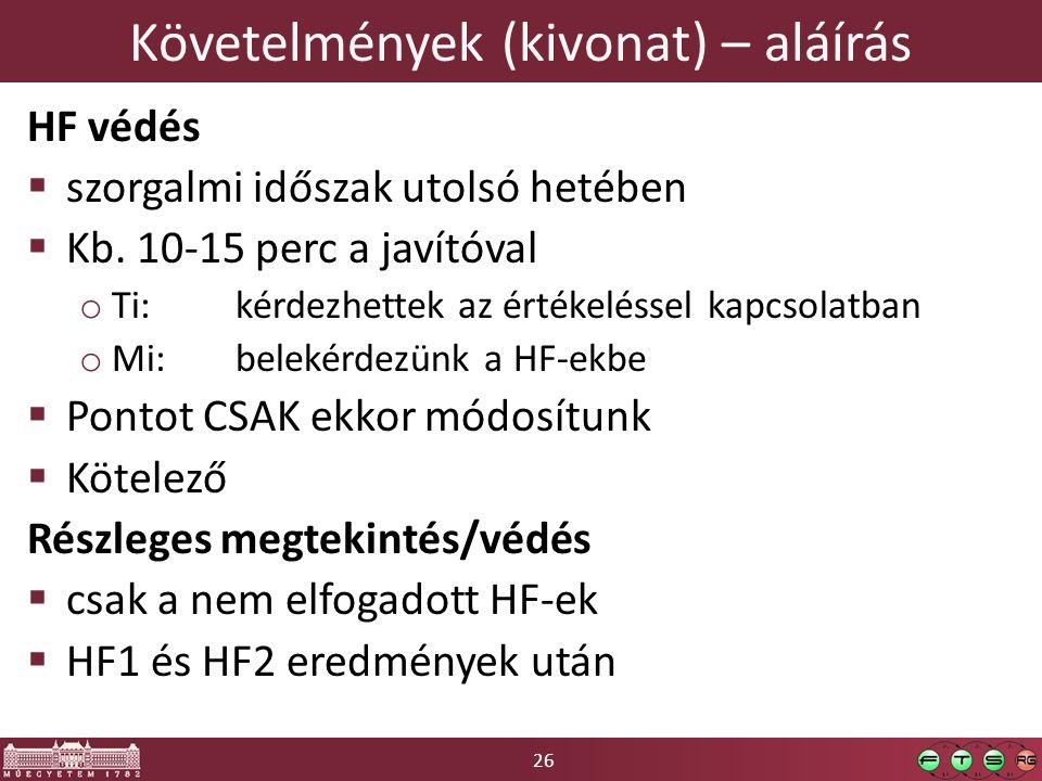 26 Követelmények (kivonat) – aláírás HF védés  szorgalmi időszak utolsó hetében  Kb.