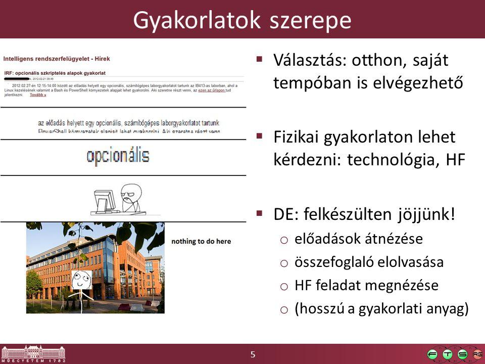 5 Gyakorlatok szerepe  Választás: otthon, saját tempóban is elvégezhető  Fizikai gyakorlaton lehet kérdezni: technológia, HF  DE: felkészülten jöjjünk.