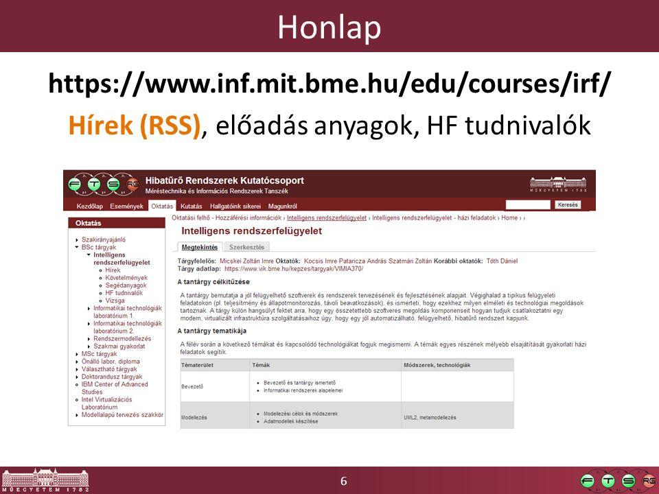 6 Honlap https://www.inf.mit.bme.hu/edu/courses/irf/ Hírek (RSS), előadás anyagok, HF tudnivalók