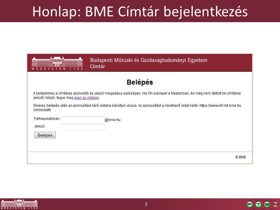 7 Honlap: BME Címtár bejelentkezés