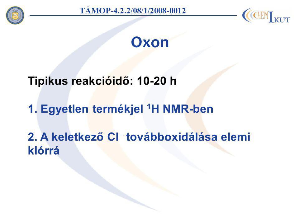 Oxon TÁMOP-4.2.2/08/1/2008-0012 Tipikus reakcióidő: 10-20 h 1. Egyetlen termékjel 1 H NMR-ben 2. A keletkező Cl  továbboxidálása elemi klórrá