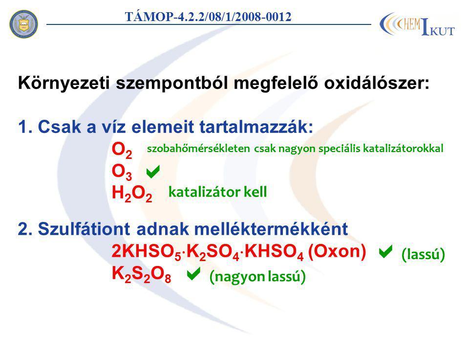 Ózon - sztöchiometria TÁMOP-4.2.2/08/1/2008-0012 [O 3 ] 0 /[TCE] 0 maradékabszorbancia (260 nm) O3O3 1 mol O 3 1 mol TCE-vel reagál Kloridionszelektív-elektród: 1 mol O 3 1 mol Cl  keletkezését okozza Lehetséges probléma: foszgén C 2 HCl 3 + O 3 + H 2 O  CHCl 2 COOH + HCl + O 2