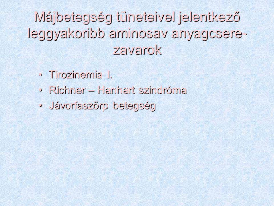 Májbetegség tüneteivel jelentkező leggyakoribb aminosav anyagcsere- zavarok Tirozinemia I.Tirozinemia I. Richner – Hanhart szindrómaRichner – Hanhart