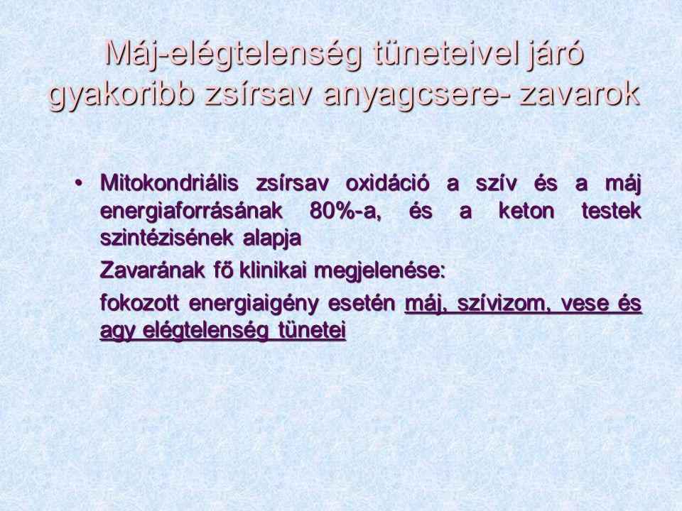 Máj-elégtelenség tüneteivel járó gyakoribb zsírsav anyagcsere- zavarok Mitokondriális zsírsav oxidáció a szív és a máj energiaforrásának 80%-a, és a k