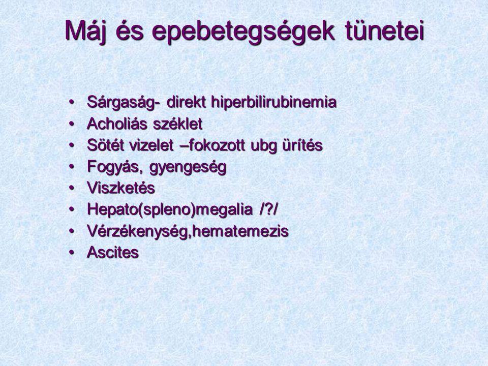 Máj és epebetegségek tünetei Sárgaság- direkt hiperbilirubinemiaSárgaság- direkt hiperbilirubinemia Acholiás székletAcholiás széklet Sötét vizelet –fo