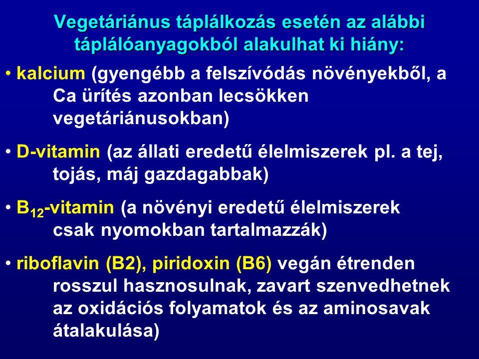 Vegetáriánus táplálkozás esetén az alábbi táplálóanyagokból alakulhat ki hiány: kalcium (gyengébb a felszívódás növényekből, a Ca ürítés azonban lecsökken vegetáriánusokban) D-vitamin (az állati eredetű élelmiszerek pl.
