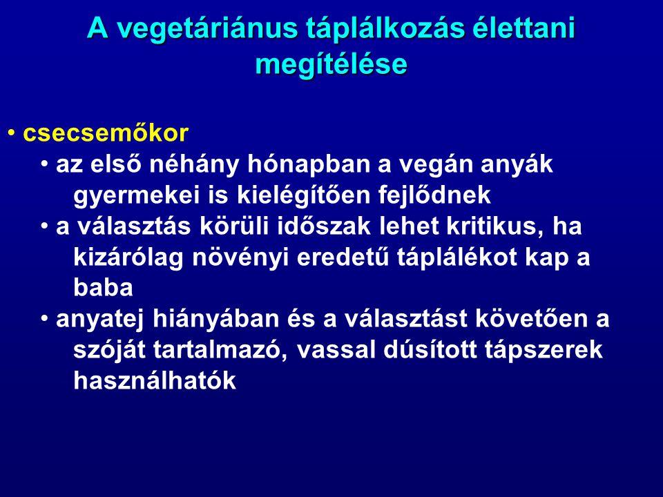 A vegetáriánus táplálkozás élettani megítélése csecsemőkor az első néhány hónapban a vegán anyák gyermekei is kielégítően fejlődnek a választás körüli időszak lehet kritikus, ha kizárólag növényi eredetű táplálékot kap a baba anyatej hiányában és a választást követően a szóját tartalmazó, vassal dúsított tápszerek használhatók