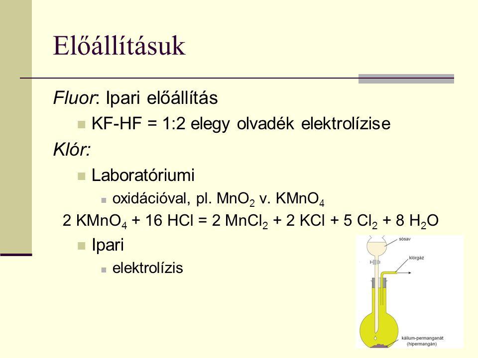 Előállításuk Fluor: Ipari előállítás KF-HF = 1:2 elegy olvadék elektrolízise Klór: Laboratóriumi oxidációval, pl. MnO 2 v. KMnO 4 2 KMnO 4 + 16 HCl =
