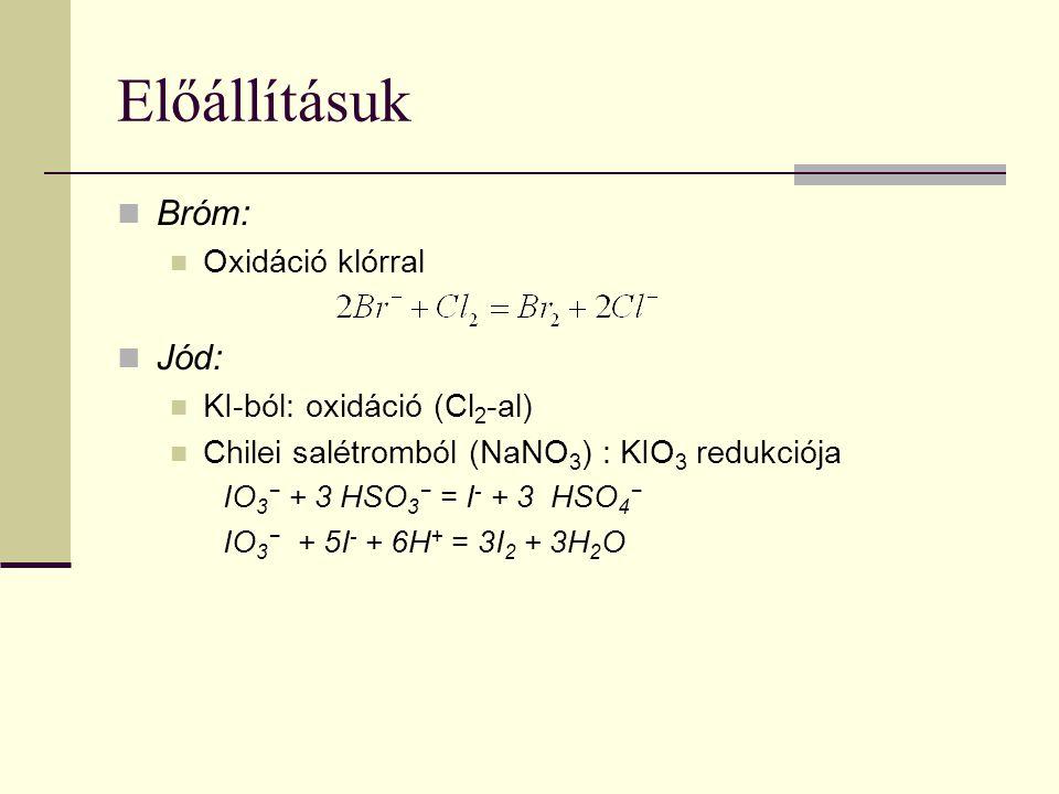 Előállításuk Bróm: Oxidáció klórral Jód: KI-ból: oxidáció (Cl 2 -al) Chilei salétromból (NaNO 3 ) : KIO 3 redukciója IO 3 − + 3 HSO 3 − = I - + 3 HSO