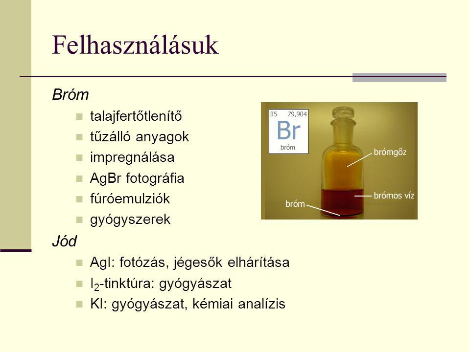 Felhasználásuk Bróm talajfertőtlenítő tűzálló anyagok impregnálása AgBr fotográfia fúróemulziók gyógyszerek Jód AgI: fotózás, jégesők elhárítása I 2 -