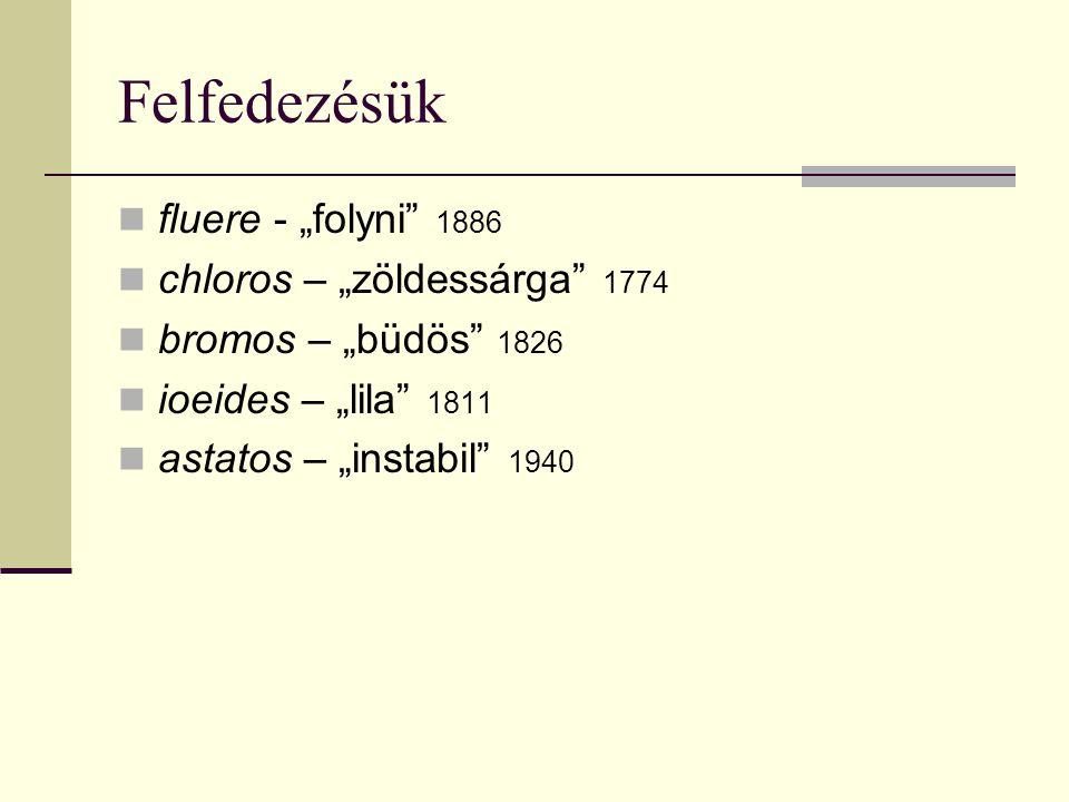 """Felfedezésük fluere - """"folyni"""" 1886 chloros – """"zöldessárga"""" 1774 bromos – """"büdös"""" 1826 ioeides – """"lila"""" 1811 astatos – """"instabil"""" 1940"""