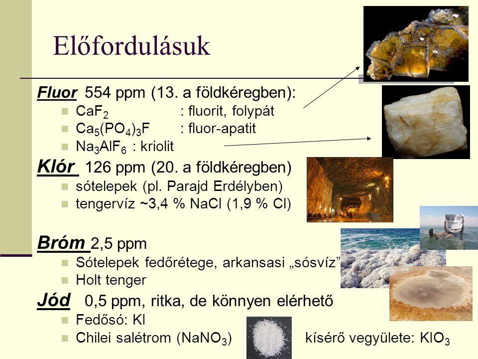 Előfordulásuk Fluor 554 ppm (13. a földkéregben): CaF 2 : fluorit, folypát Ca 5 (PO 4 ) 3 F: fluor-apatit Na 3 AlF 6 : kriolit Klór 126 ppm (20. a föl