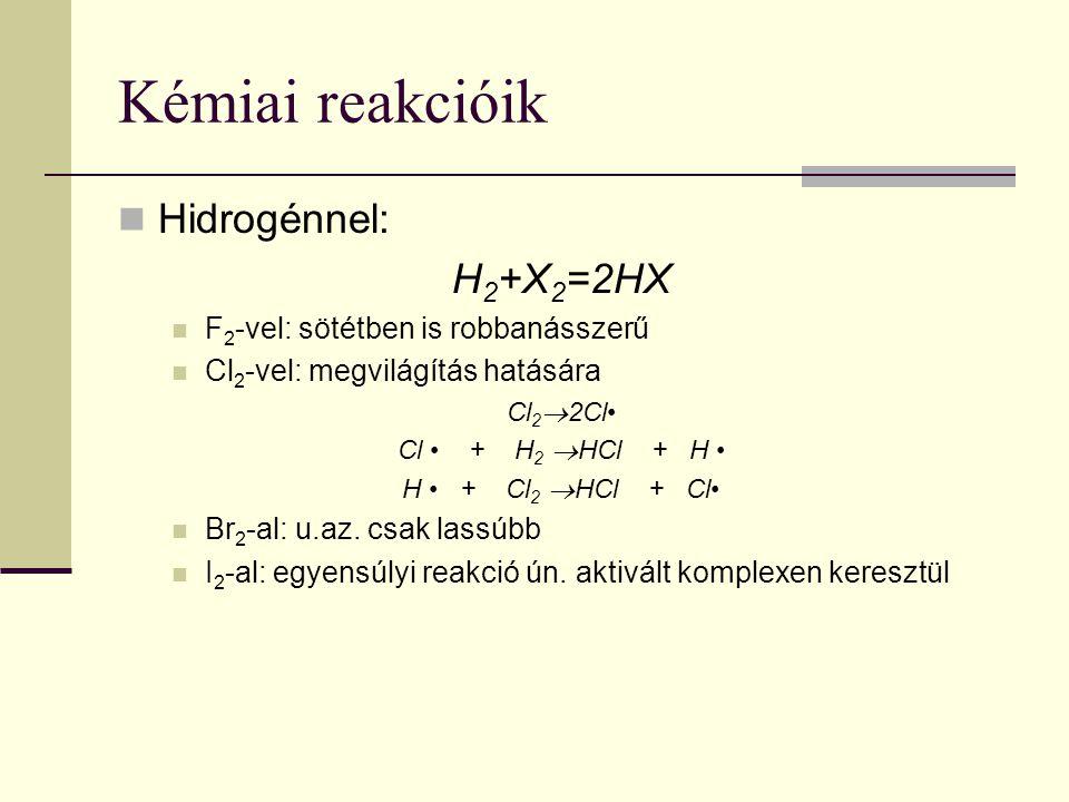 Kémiai reakcióik Hidrogénnel: H 2 +X 2 =2HX F 2 -vel: sötétben is robbanásszerű Cl 2 -vel: megvilágítás hatására Cl 2  2Cl Cl + H 2  HCl + H H + Cl