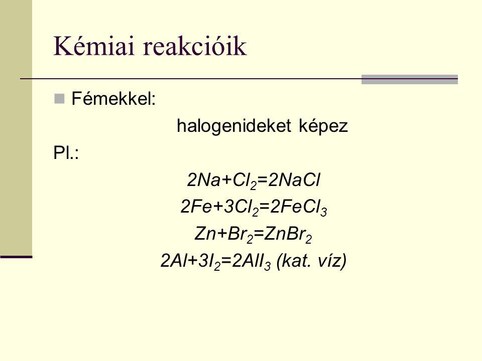 Kémiai reakcióik Fémekkel: halogenideket képez Pl.: 2Na+Cl 2 =2NaCl 2Fe+3Cl 2 =2FeCl 3 Zn+Br 2 =ZnBr 2 2Al+3I 2 =2AlI 3 (kat. víz)