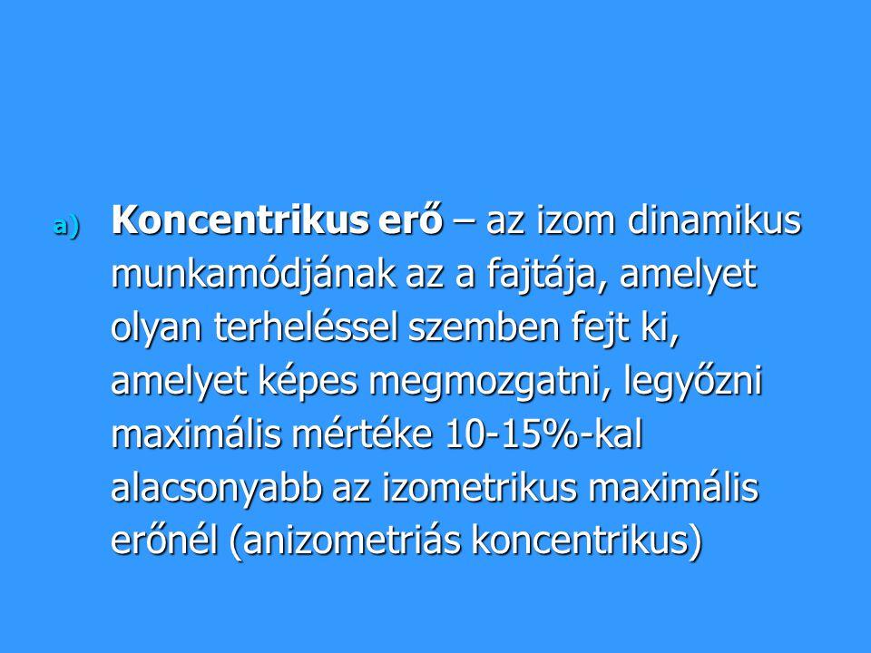 a) Koncentrikus erő – az izom dinamikus munkamódjának az a fajtája, amelyet olyan terheléssel szemben fejt ki, amelyet képes megmozgatni, legyőzni max