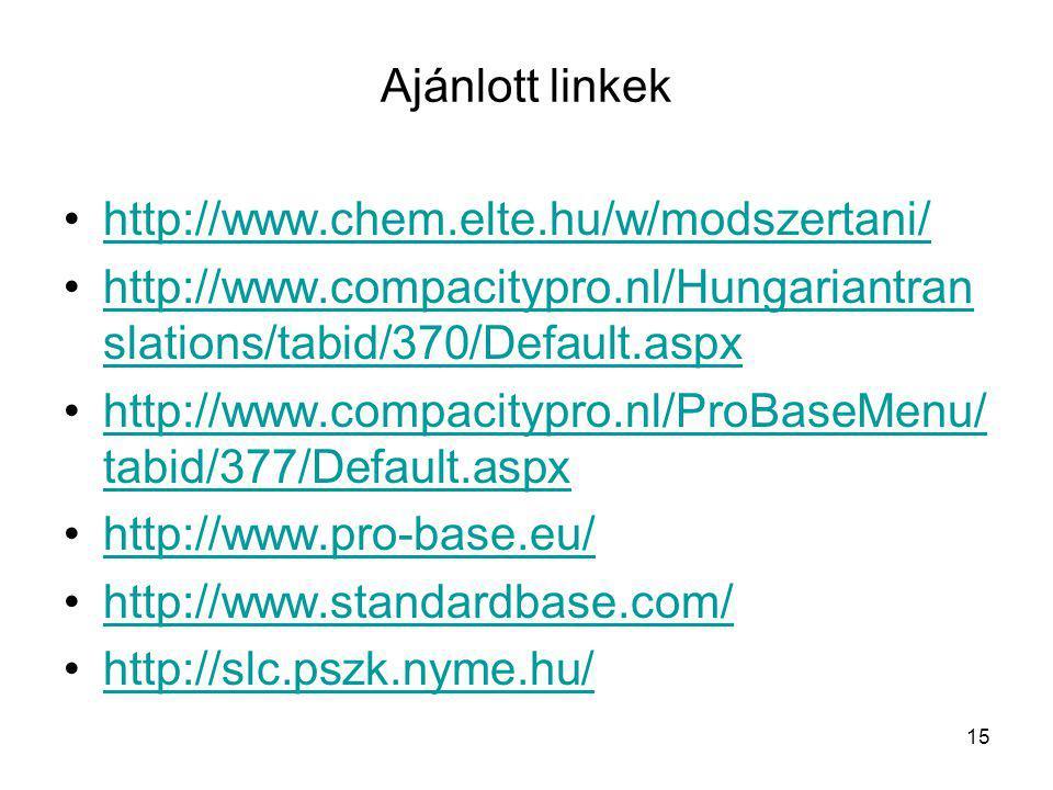 Ajánlott linkek http://www.chem.elte.hu/w/modszertani/ http://www.compacitypro.nl/Hungariantran slations/tabid/370/Default.aspxhttp://www.compacitypro.nl/Hungariantran slations/tabid/370/Default.aspx http://www.compacitypro.nl/ProBaseMenu/ tabid/377/Default.aspxhttp://www.compacitypro.nl/ProBaseMenu/ tabid/377/Default.aspx http://www.pro-base.eu/ http://www.standardbase.com/ http://slc.pszk.nyme.hu/ 15