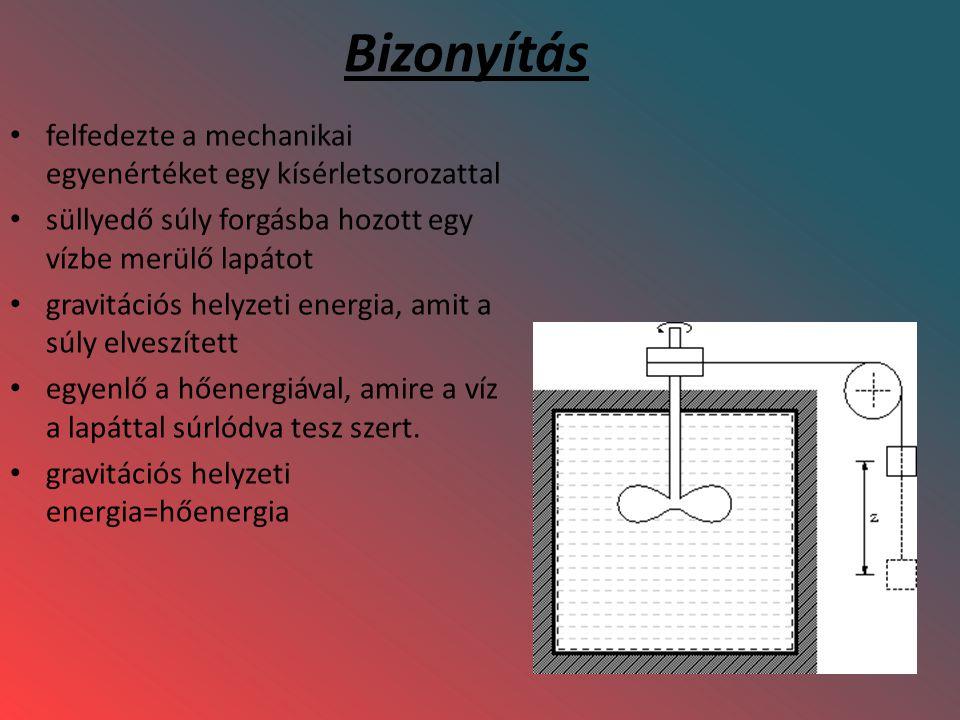 Bizonyítás felfedezte a mechanikai egyenértéket egy kísérletsorozattal süllyedő súly forgásba hozott egy vízbe merülő lapátot gravitációs helyzeti ene