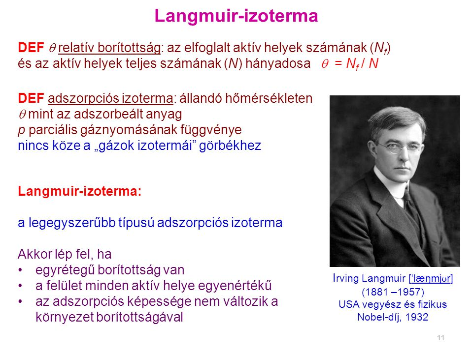 """Langmuir-izoterma DEF adszorpciós izoterma: állandó hőmérsékleten  mint az adszorbeált anyag p parciális gáznyomásának függvénye nincs köze a """"gázok"""