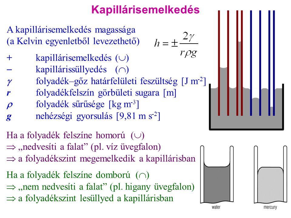 Kapillárisemelkedés A kapillárisemelkedés magassága (a Kelvin egyenletből levezethető) +kapillárisemelkedés (  )  kapillárissüllyedés (  )  folyad