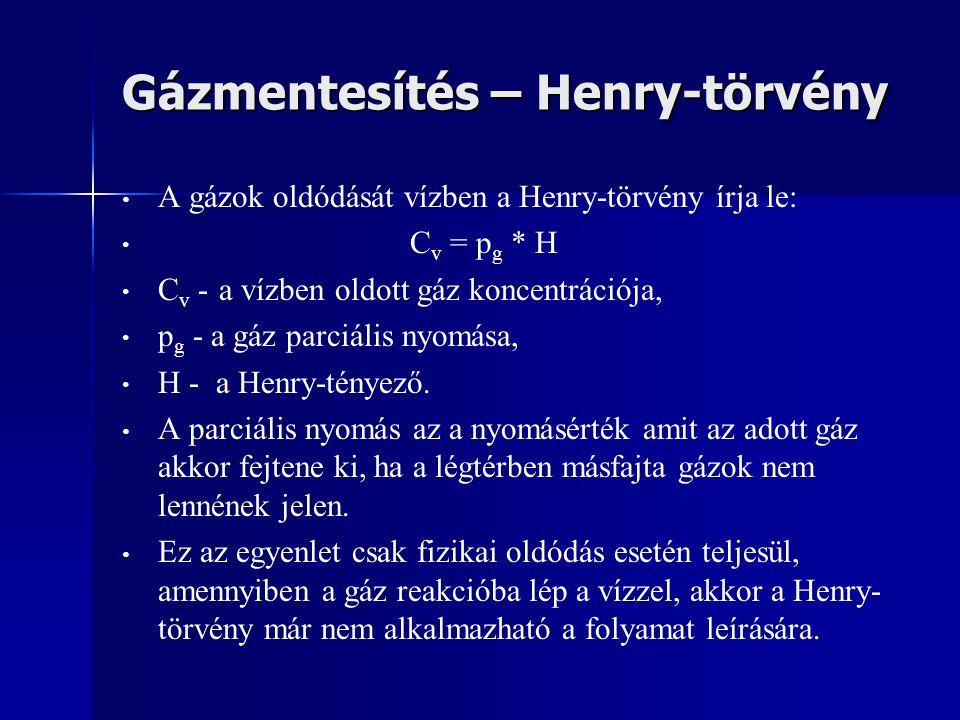 Gázmentesítés – Henry-törvény A gázok oldódását vízben a Henry-törvény írja le: C v = p g * H C v - a vízben oldott gáz koncentrációja, p g - a gáz pa