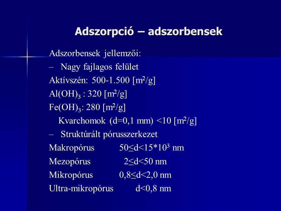 Adszorpció – adszorbensek Adszorbensek jellemzői: – –Nagy fajlagos felület Aktívszén: 500-1.500 [m 2 /g] Al(OH) 3 : 320 [m 2 /g] Fe(OH) 3 : 280 [m 2 /