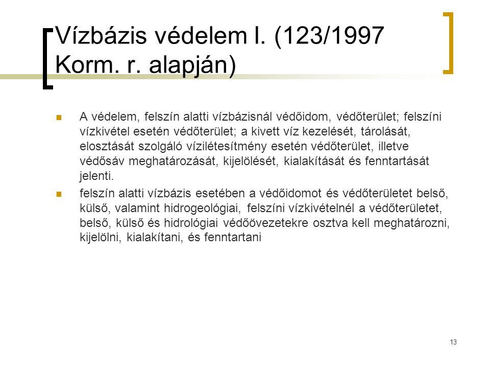 Vízbázis védelem I. (123/1997 Korm. r. alapján) A védelem, felszín alatti vízbázisnál védőidom, védőterület; felszíni vízkivétel esetén védőterület; a