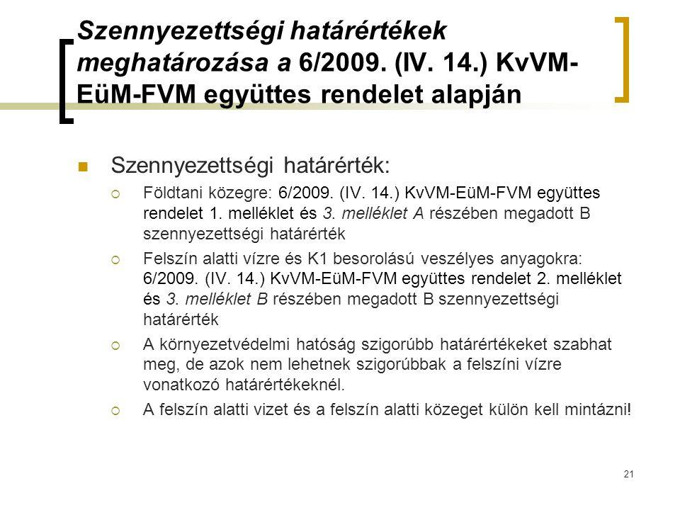 Szennyezettségi határértékek meghatározása a 6/2009. (IV. 14.) KvVM- EüM-FVM együttes rendelet alapján Szennyezettségi határérték:  Földtani közegre: