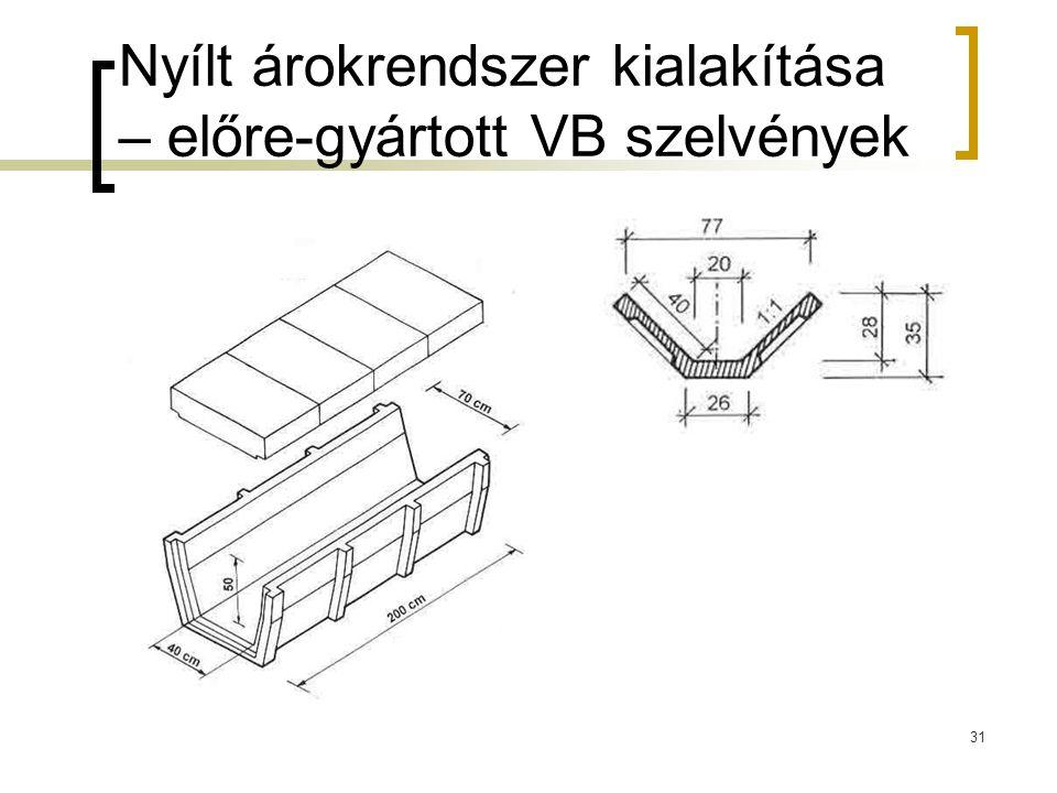 Nyílt árokrendszer kialakítása – előre-gyártott VB szelvények 31