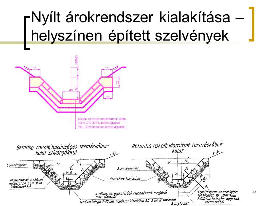 Nyílt árokrendszer kialakítása – helyszínen épített szelvények 32