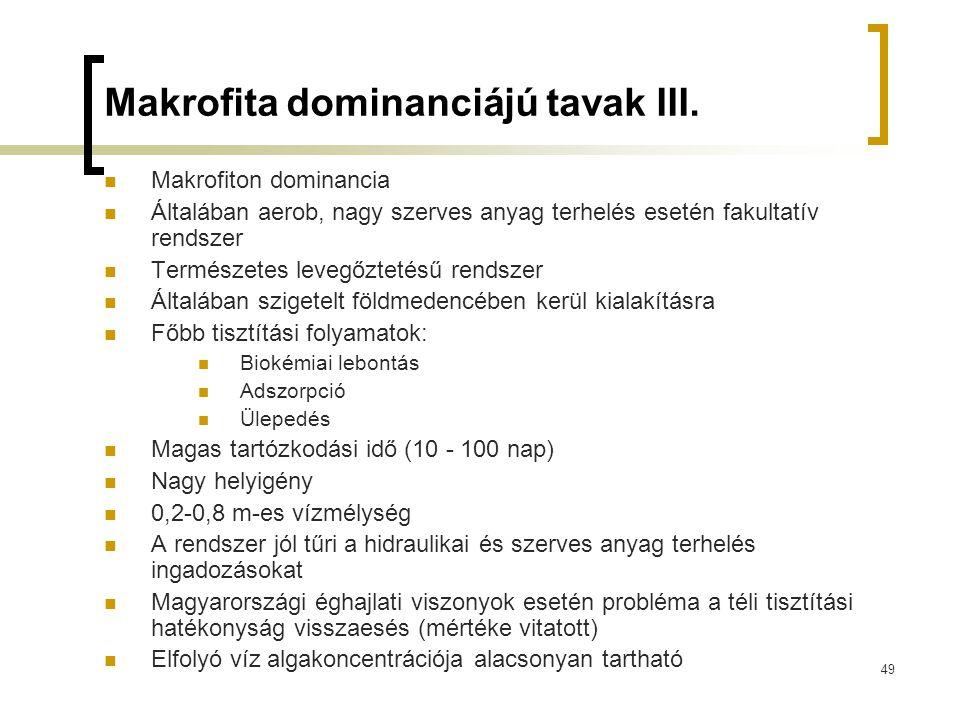 49 Makrofita dominanciájú tavak III. Makrofiton dominancia Általában aerob, nagy szerves anyag terhelés esetén fakultatív rendszer Természetes levegőz