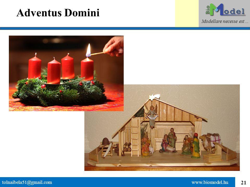 21 Adventus Domini tolnaibela51@gmail.com www.biomodel.hu Modellare necesse est…