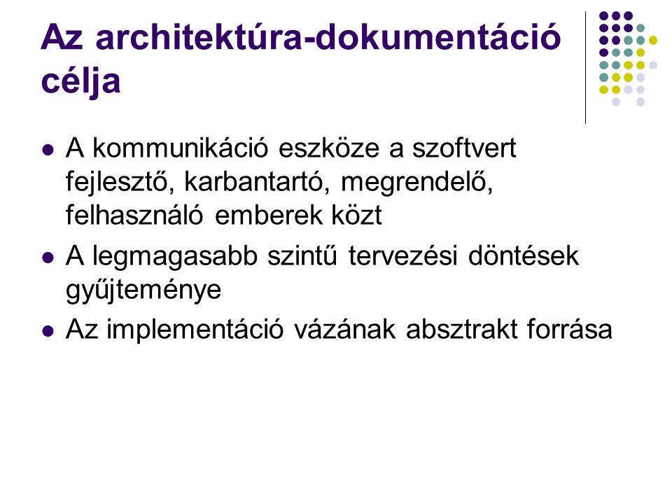 Az architektúra-dokumentáció célja A kommunikáció eszköze a szoftvert fejlesztő, karbantartó, megrendelő, felhasználó emberek közt A legmagasabb szintű tervezési döntések gyűjteménye Az implementáció vázának absztrakt forrása