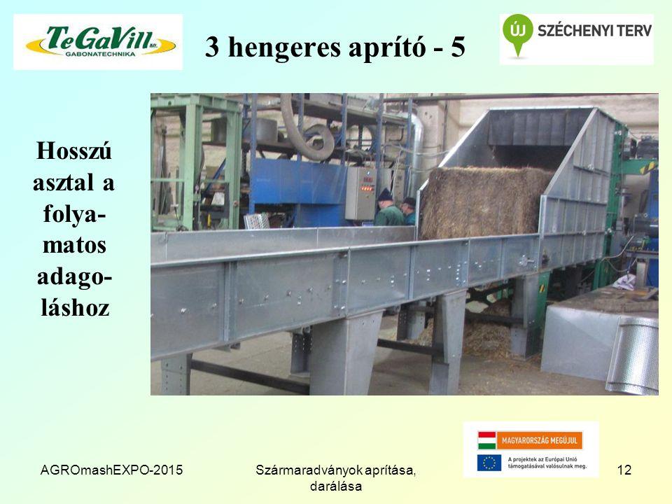 3 hengeres aprító - 5 Hosszú asztal a folya- matos adago- láshoz AGROmashEXPO-2015Szármaradványok aprítása, darálása 12