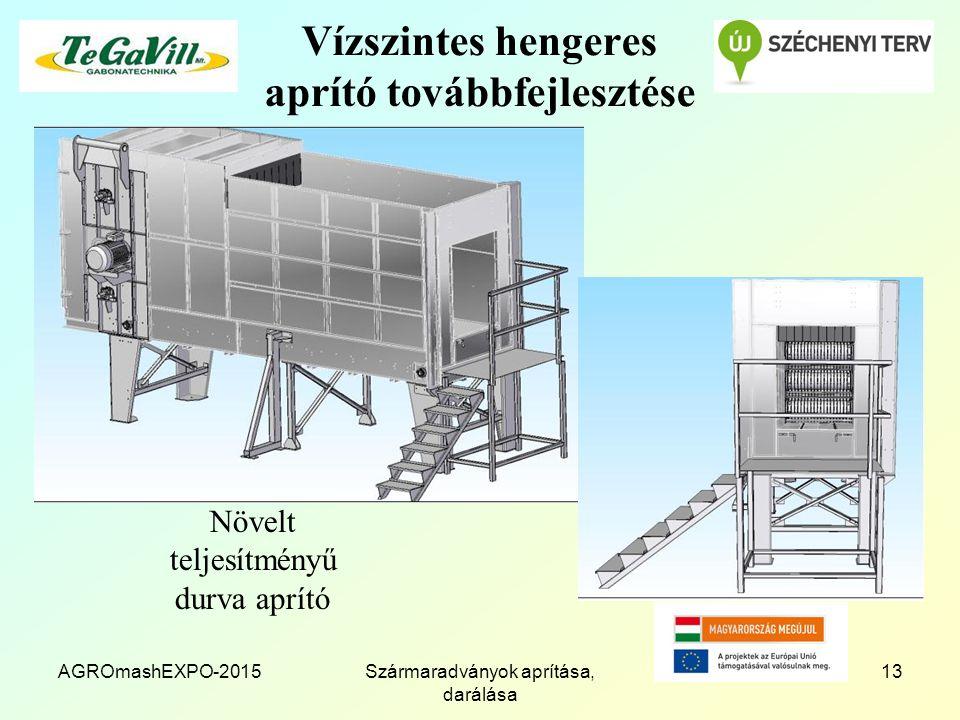 Vízszintes hengeres aprító továbbfejlesztése AGROmashEXPO-2015Szármaradványok aprítása, darálása 13 Növelt teljesítményű durva aprító