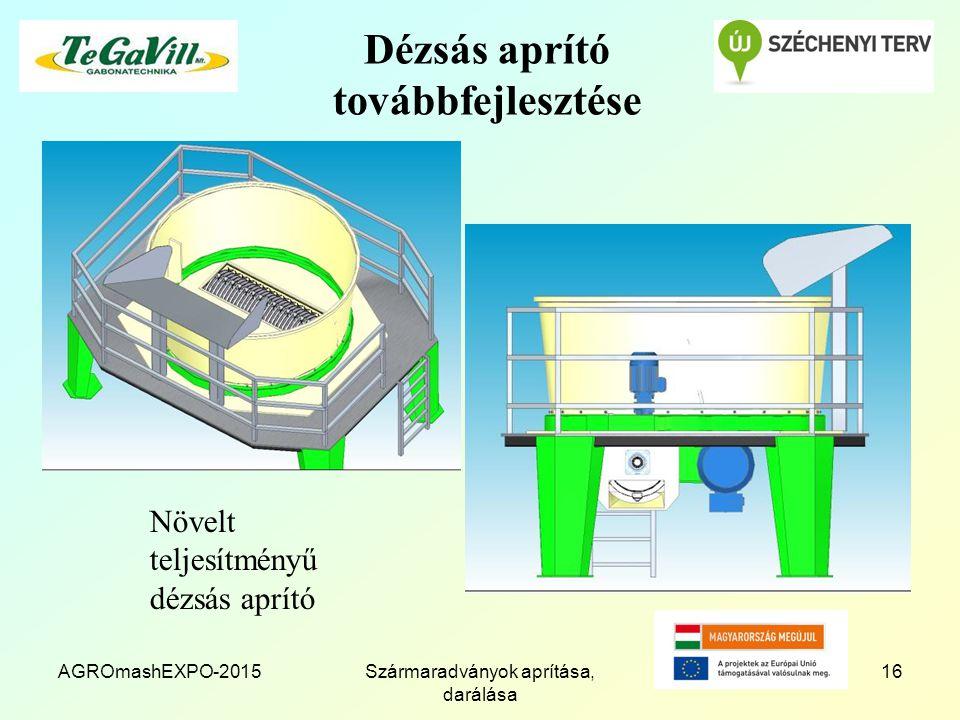 Dézsás aprító továbbfejlesztése AGROmashEXPO-2015Szármaradványok aprítása, darálása 16 Növelt teljesítményű dézsás aprító