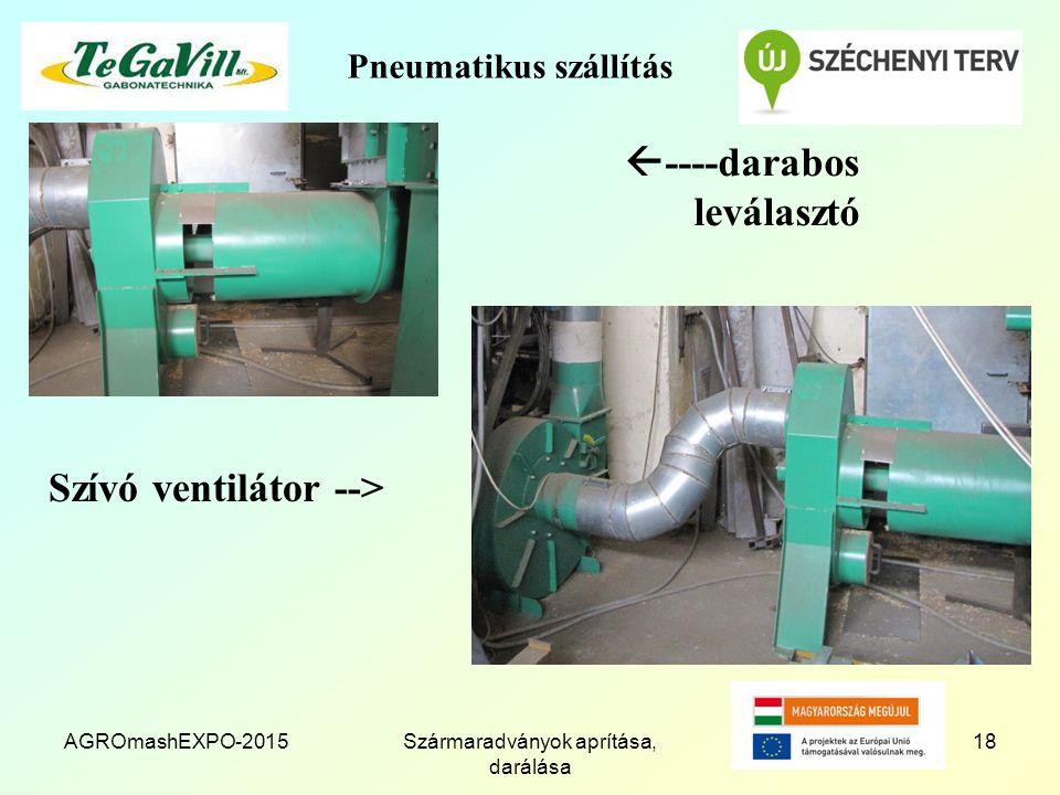 Pneumatikus szállítás Szívó ventilátor --> AGROmashEXPO-2015Szármaradványok aprítása, darálása 18  ----darabos leválasztó
