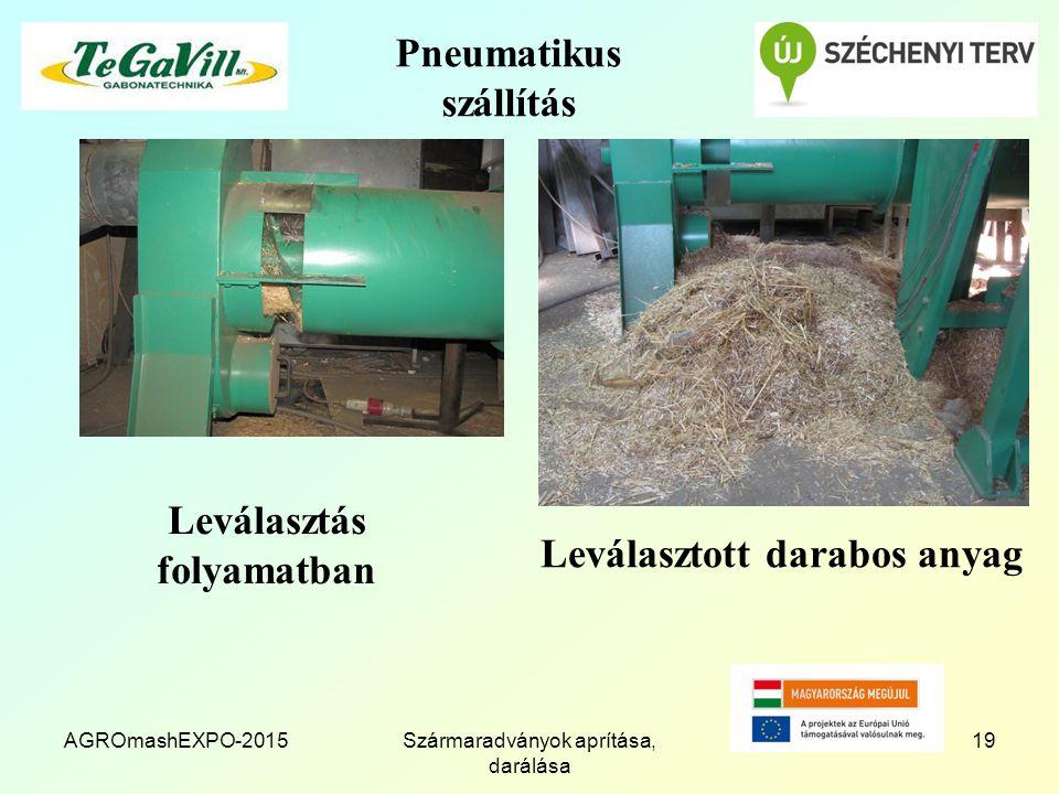 Pneumatikus szállítás Leválasztás folyamatban AGROmashEXPO-2015Szármaradványok aprítása, darálása 19 Leválasztott darabos anyag