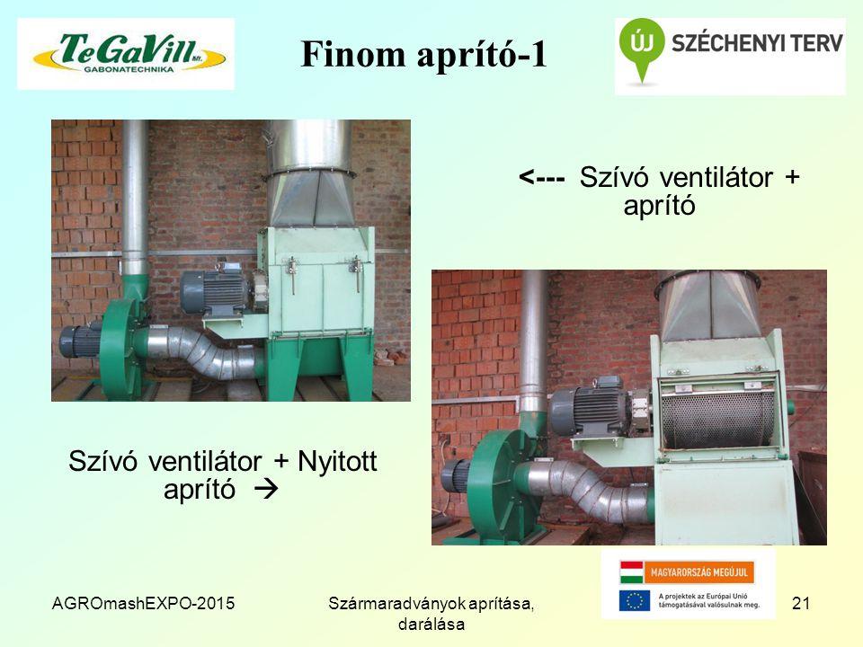 AGROmashEXPO-2015Szármaradványok aprítása, darálása 21 Finom aprító-1 <--- Szívó ventilátor + aprító Szívó ventilátor + Nyitott aprító 