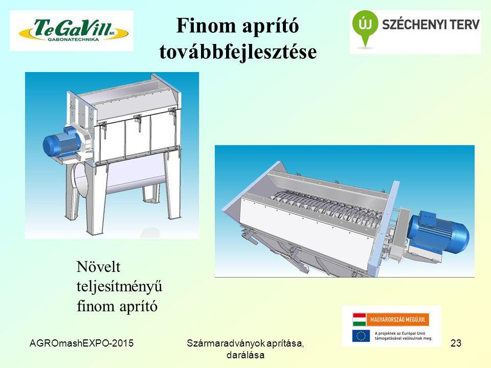 Finom aprító továbbfejlesztése Növelt teljesítményű finom aprító AGROmashEXPO-201523Szármaradványok aprítása, darálása