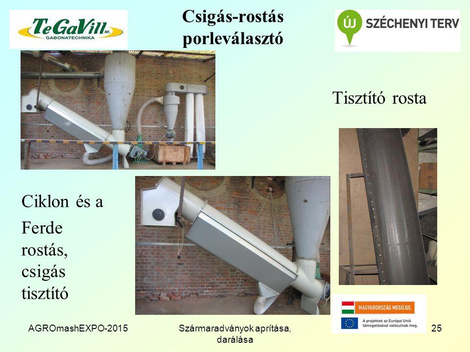 Csigás-rostás porleválasztó Tisztító rosta AGROmashEXPO-2015Szármaradványok aprítása, darálása 25 Ciklon és a Ferde rostás, csigás tisztító
