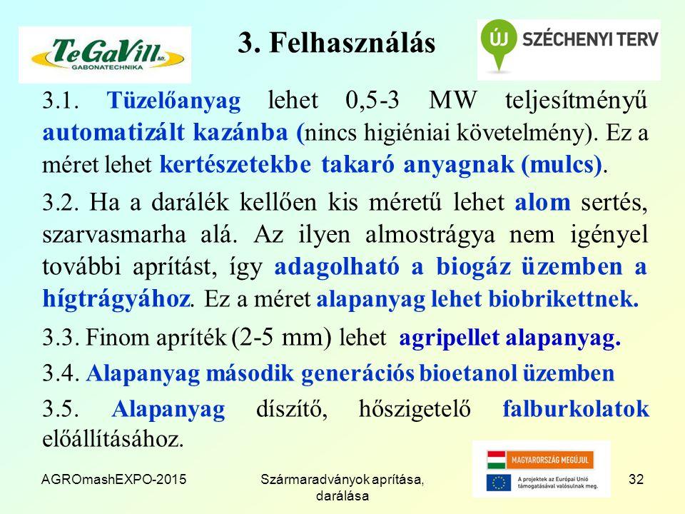3. Felhasználás 3.1. Tüzelőanyag lehet 0,5-3 MW teljesítményű automatizált kazánba ( nincs higiéniai követelmény). Ez a méret lehet kertészetekbe taka