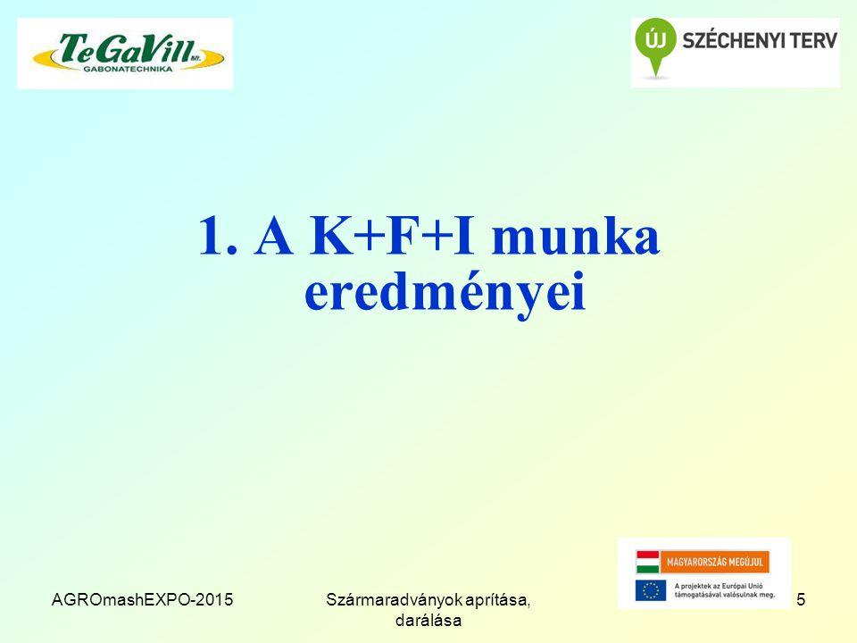 AGROmashEXPO-2015Szármaradványok aprítása, darálása 5 1. A K+F+I munka eredményei