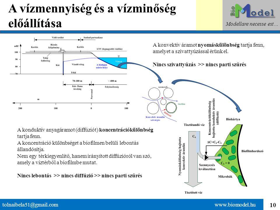 10 A vízmennyiség és a vízminőség előállítása tolnaibela51@gmail.com www.biomodel.hu Modellare necesse est… A konduktív anyagáramot (diffúziót) koncen