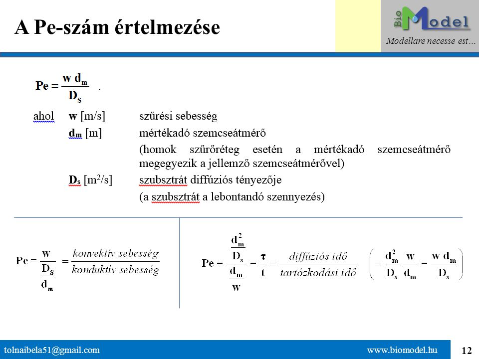 12 A Pe-szám értelmezése tolnaibela51@gmail.com www.biomodel.hu Modellare necesse est…