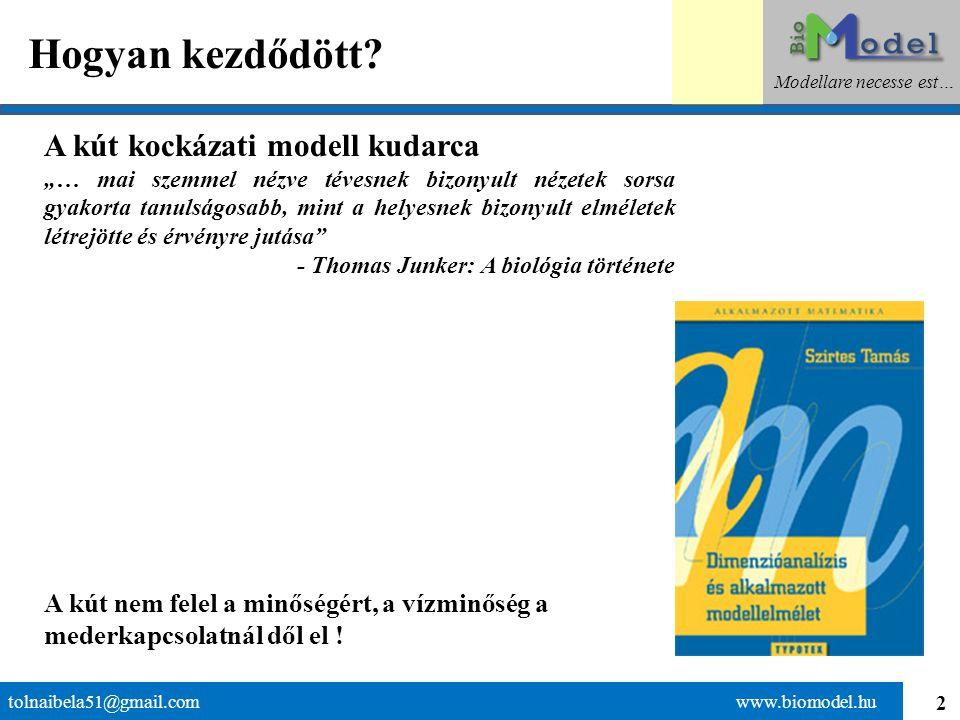 33 Könnyen és nehezen lebomló anyagok tolnaibela51@gmail.com www.biomodel.hu Modellare necesse est… Jekel kísérletKísérleti eredmény w= 0,28 m/d (~parti szűrés) Ismert szennyezések adagolása